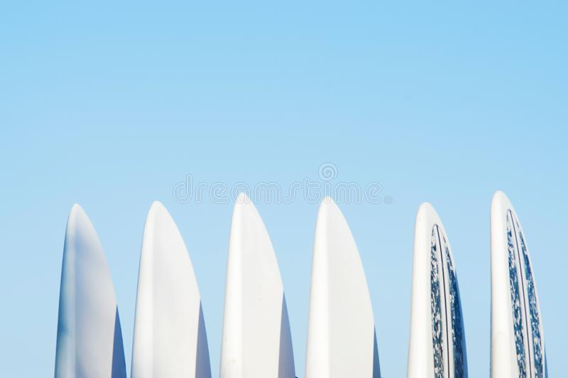Set of surf boards in a stack stock photo