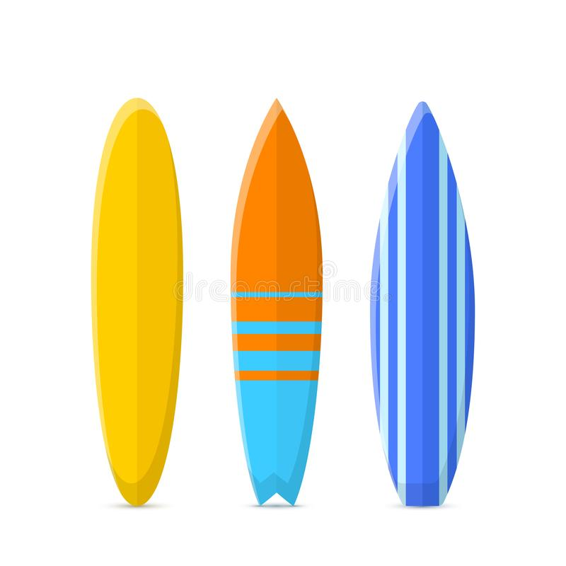 Set of surfboards. Classic types of surfboards with a pattern. Vector illustration isolated on a white background royalty free illustration