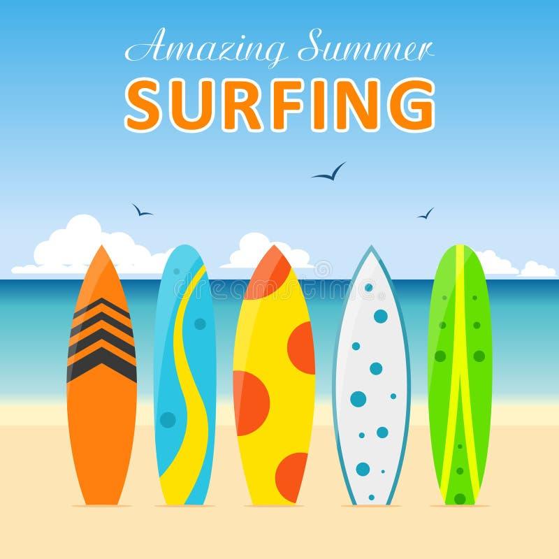 set surfboards different designs on beach summer sport surfing