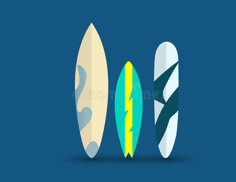 Set of Surfboards Isolated on a Blue Background. Sea extreme sport Concept. vector illustration