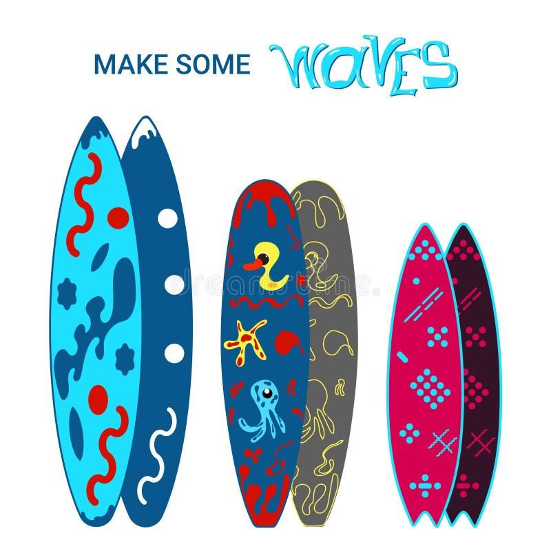 Set Surfboards Klasyczni typy surfboards z wzorem Odizolowywaj?ca wektorowa ilustracja ilustracja wektor
