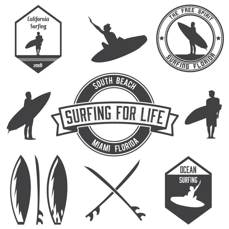 Set surfingów logowie wiąże, emblematy i odznaki ilustracja wektor