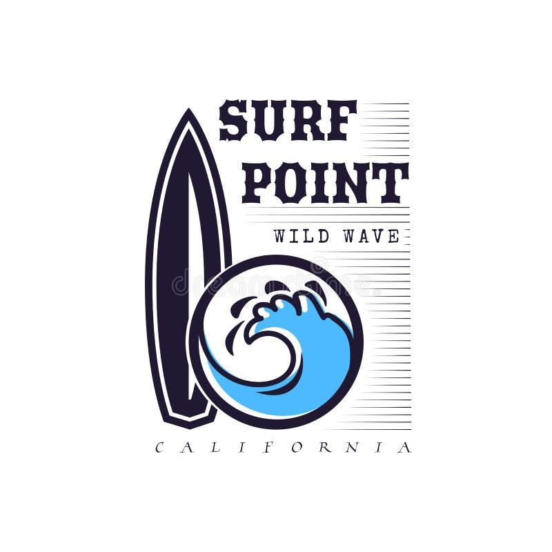 Set surfing dla drukować Dziki falowy logo, kipiel punktu majcher, elementy deski dla szkolnego surfingu ilustracja wektor