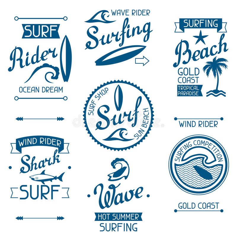 Set surfing labels and emblems on white background.  stock illustration