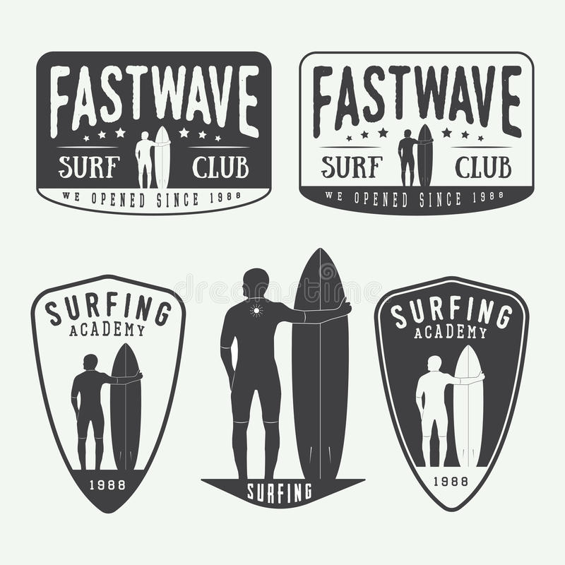 Download Set Of Surfing Logos Labels Badges And Elements In Vintage Sty Stock Vector