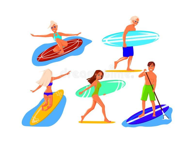 Set surfingowowie ilustracja wektor