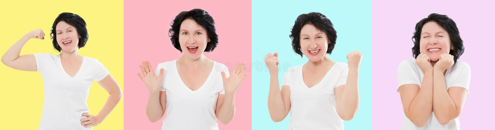 Set of surprised shocked excited asian woman face isolated on colorful background. Middle age female in summer t shirt. Copy space royalty free stock image