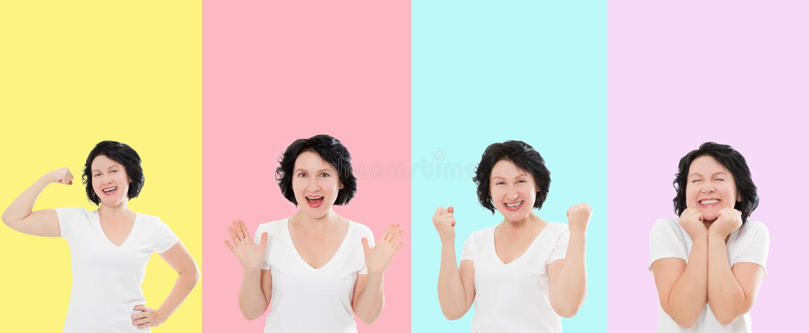 Set of surprised shocked excited asian woman face isolated on colorful background. Middle age female in summer t shirt. Copy space royalty free stock photography