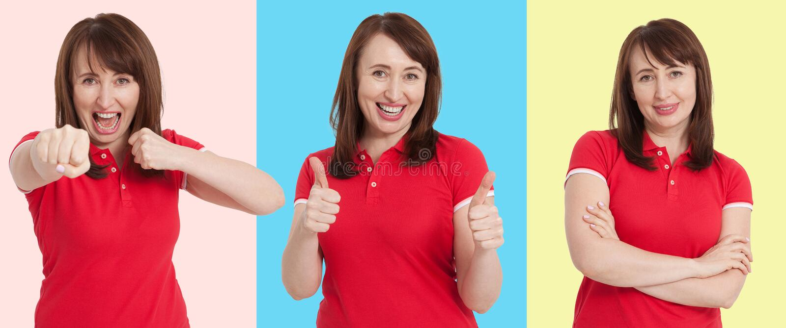 Set of surprised shocked excited woman face isolated on colorful background. Middle age female in summer t shirt. Copy space. royalty free stock images