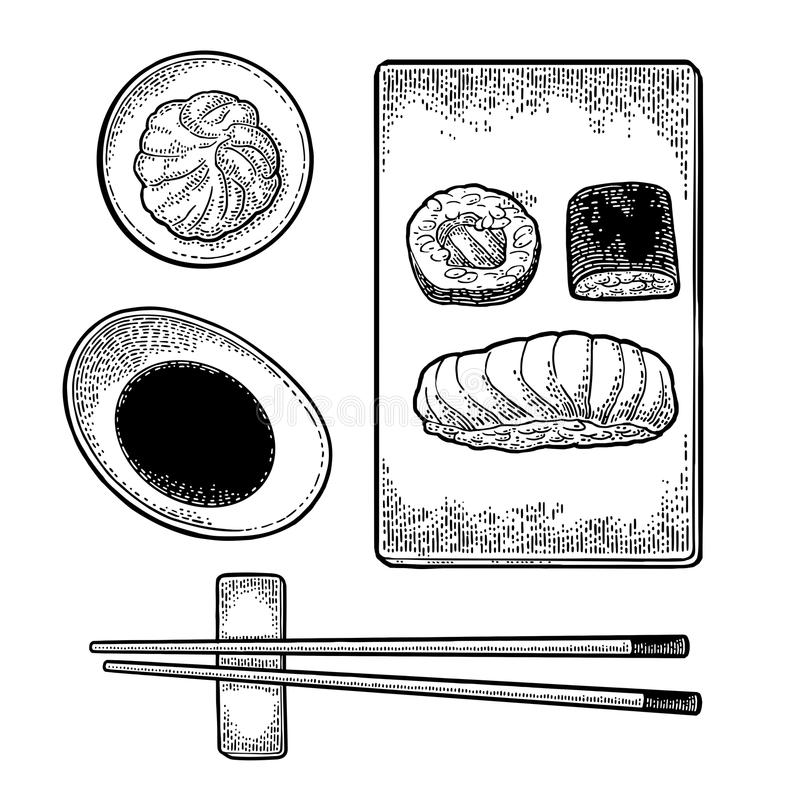 Set Sushi. Chopsticks, wasabi, soy sauce, nigiri, rolls, board. stock illustration