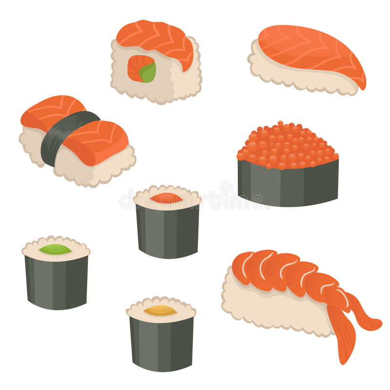 Download Set of sushi icons stock vector. Image of pattern, gourmet - 10694259