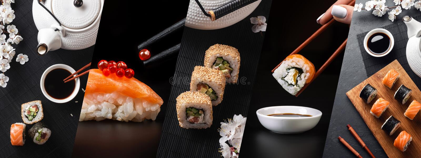 Set of sushi and maki rolls with branch of white flowers and teapot. Panoramic photo royalty free stock image