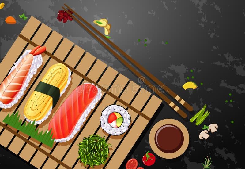 A set of sushi meal. Illustration stock illustration