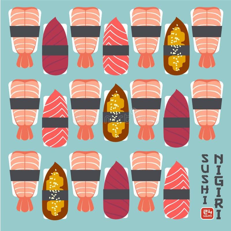 Set of sushi nigiri illustration. Sushi restaurant emblem. Nigiri with fish and shrimps on a light background stock illustration