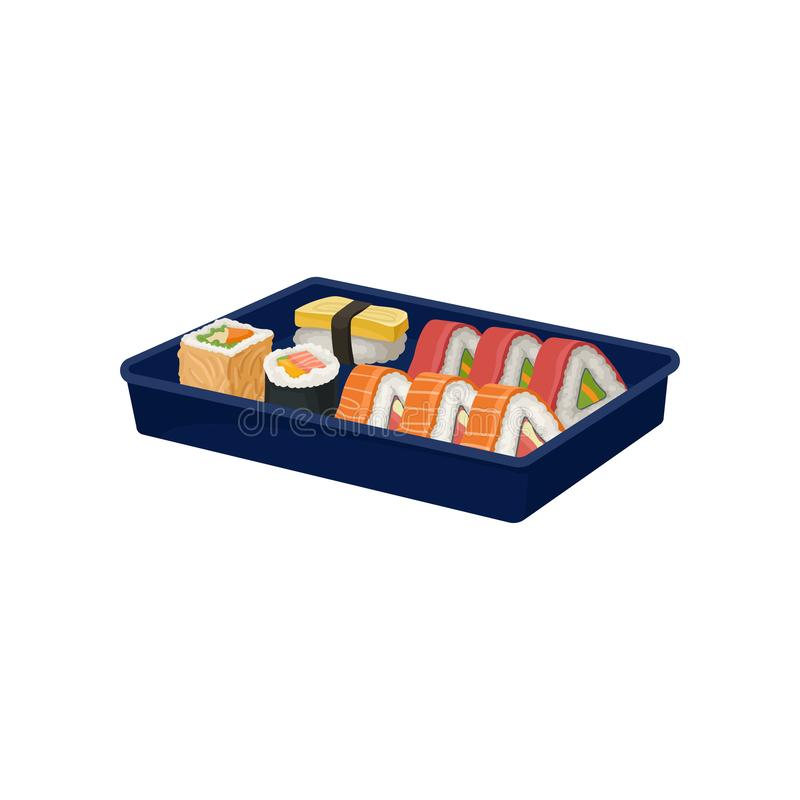 Set of sushi rolls in blue tray. Traditional Asian food. Japanese cuisine. Flat vector for promo poster, cafe or vector illustration