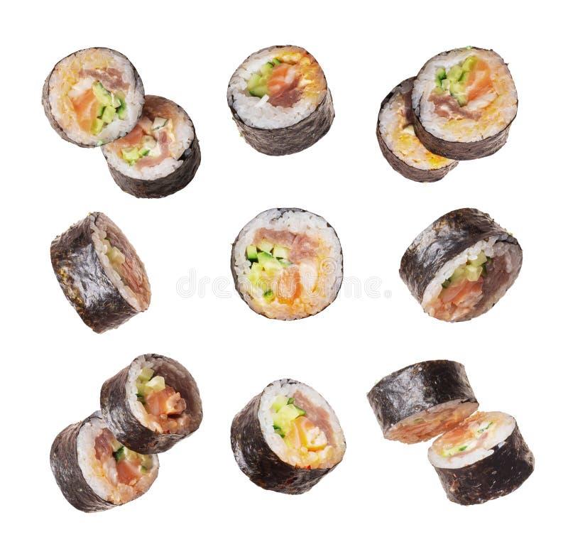 Set of sushi rolls close-up isolated on a white background royalty free stock photo