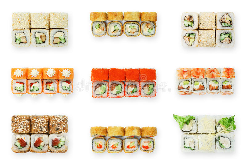 Set of sushi rolls isolated at white royalty free stock photography