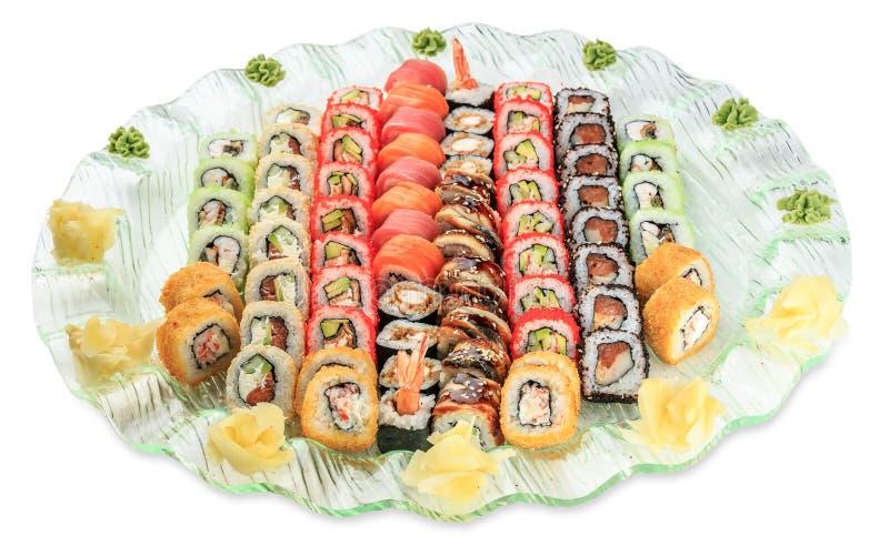 Set sushi rolls plate - isolated on white background. Studio shot stock photos