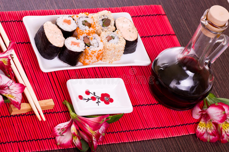 Download Set Of Sushi Rolls On The White Plate Stock Image - Image: 25071649