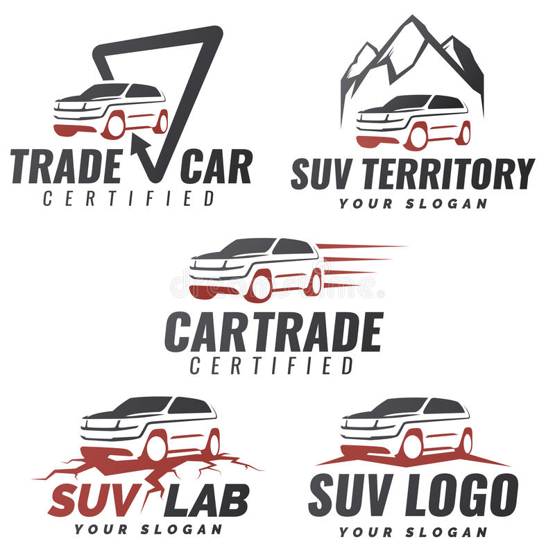 Set of SUV car service logo templates. Automotive repair and service theme concept. Rental Car Logo Template Design Vector. modern suv front and side view vector illustration
