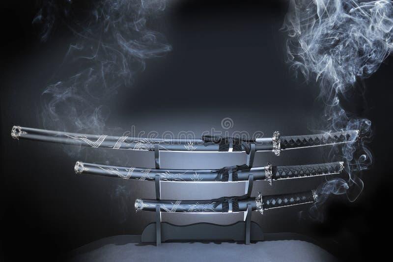 set svärd för japansk katana royaltyfri fotografi
