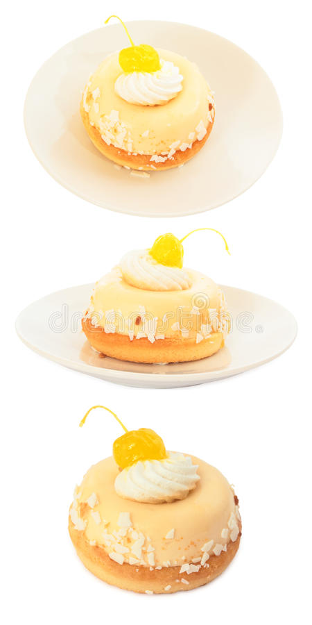 Set of sweet cake with cherry. Isolated on white royalty free stock images