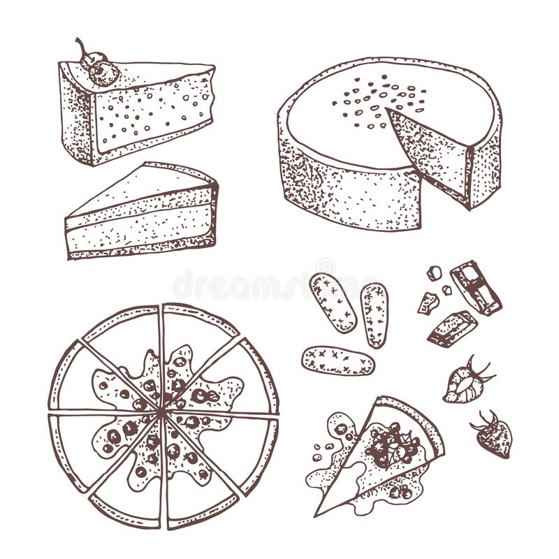 Set with sweet and dessert: cakes, pies, tarts,cheesecake, cookies, chocolate and strawberry . vector illustration
