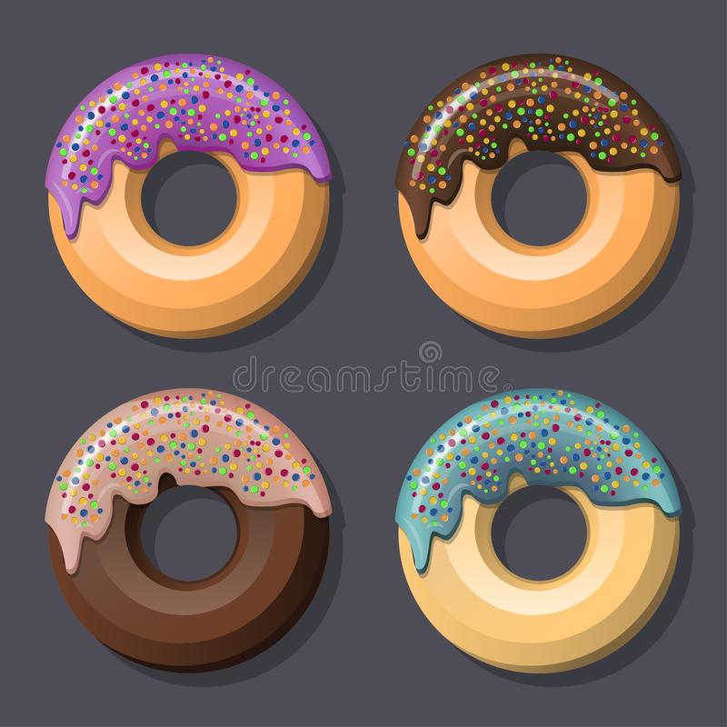 A set of 4 sweet donuts with a hole in the center, various flavors and round dressing. stock illustration
