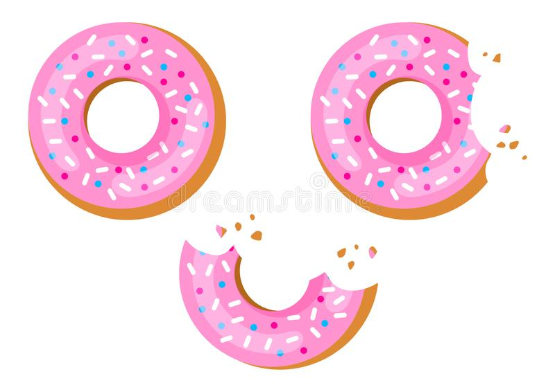 Set of sweet donuts with pink glaze, bitten donut. Vector illustration stock illustration
