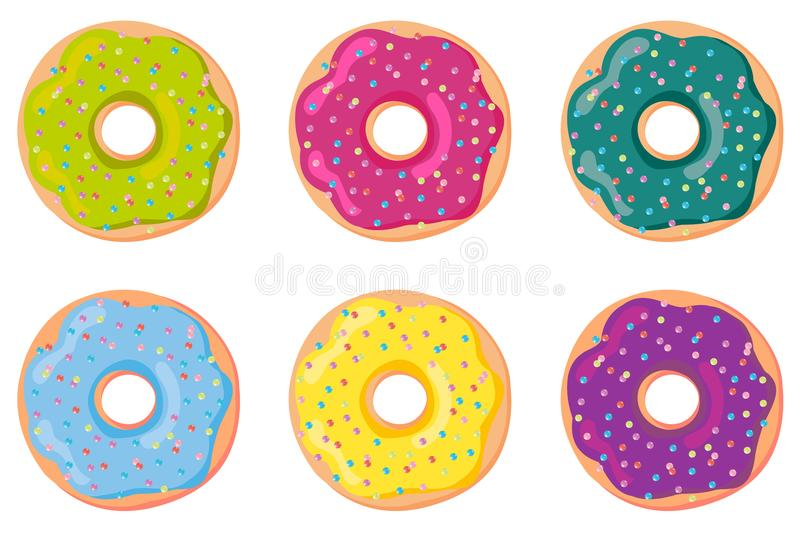 A set of sweet dough donuts. Donut, isolated on white background. Vector royalty free illustration