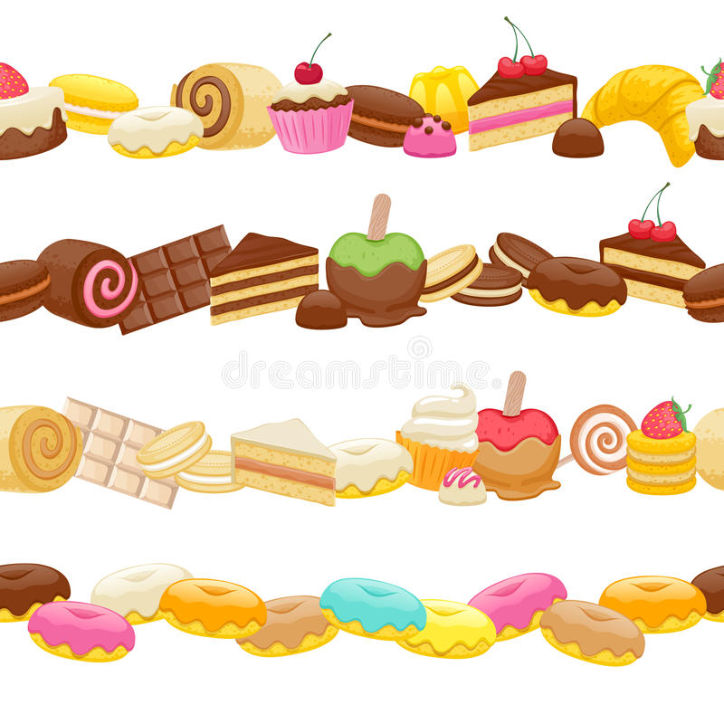 set of sweet food seamless horizontal borders stock vector illustration of pastry  strawberry apple pictures clip art black and white apple pictures clip art