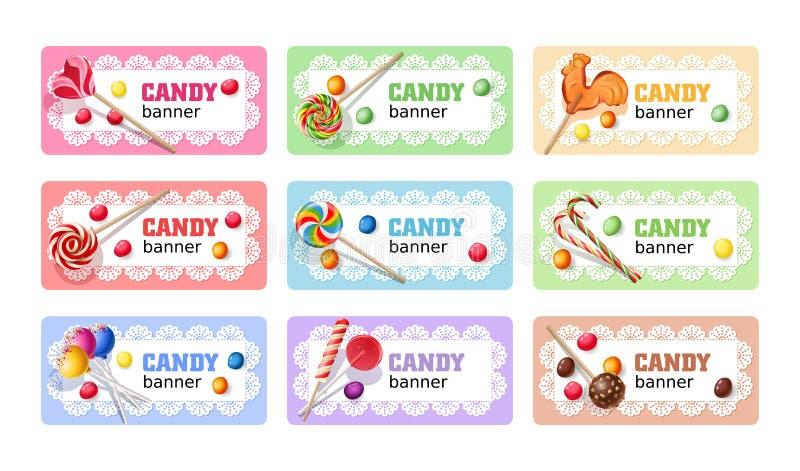 Set of sweet lollipop vector banners. vector illustration