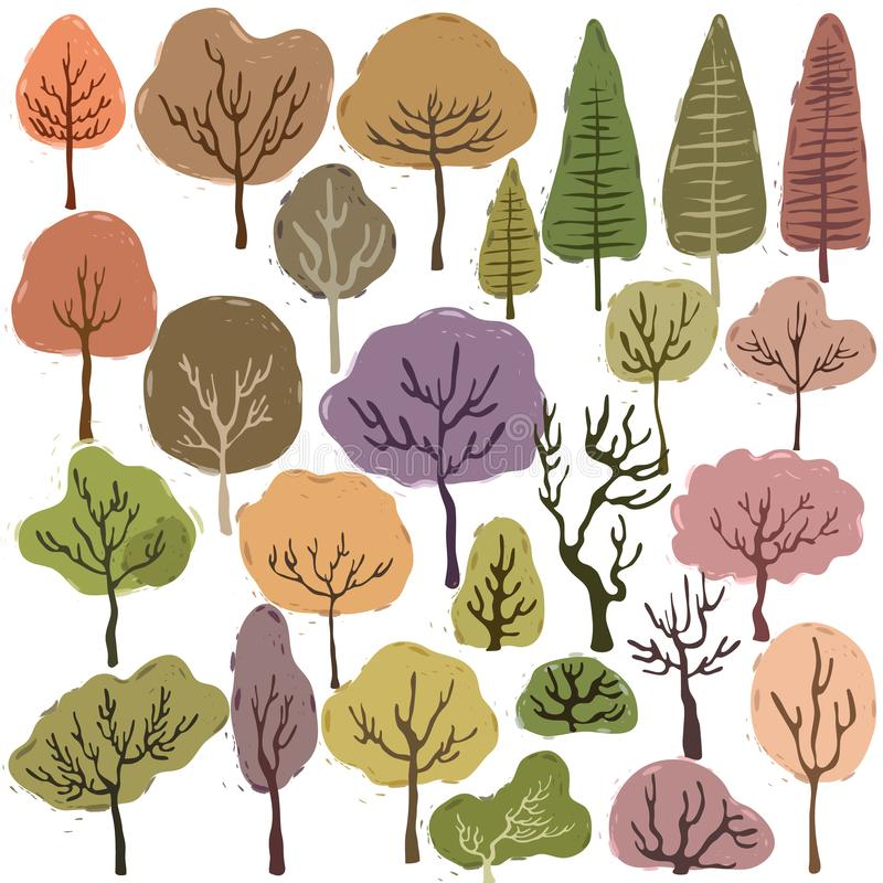Set of Sweet Pastel Trees vector illustration