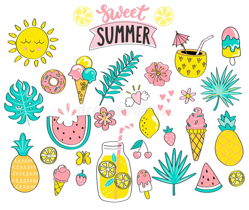 Set of sweet summer hand drawn elements. stock illustration