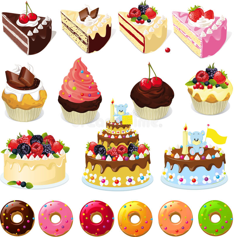Set of sweets and cakes - vector illustration stock illustration
