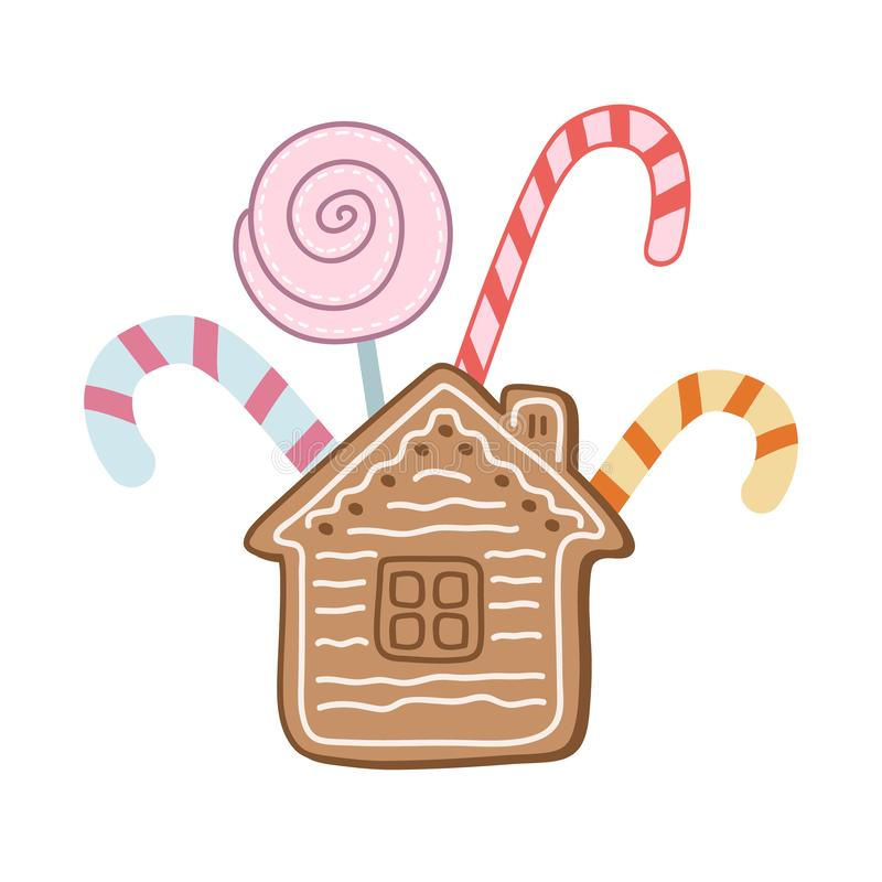 A set of sweets. Color vector illustration by hand. Lollipops and gingerbread. Christmas sweets stock illustration