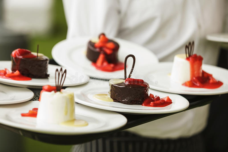 Set of sweets and desserts. On a wedding party stock photography