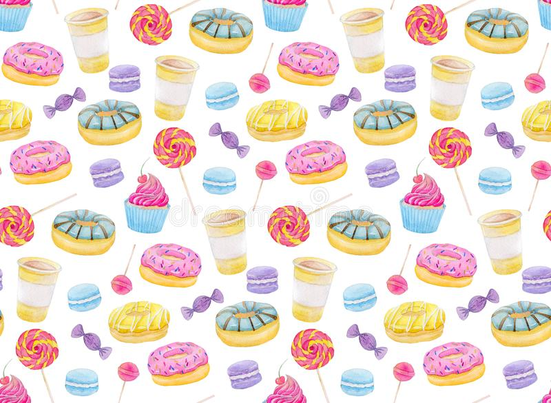 Set of sweets with donuts, candy, capcake, lollipop, chupa chups, macaroons and cup of coffee. Colorful watercolor pattern. Set of sweets with donuts, candy royalty free illustration
