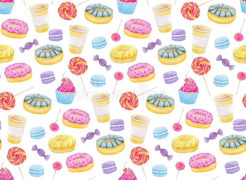Set of sweets with donuts, candy, capcake, lollipop, chupa chups, macaroons and cup of coffee Colorful watercolor pattern. Set of sweets with donuts, candy royalty free illustration