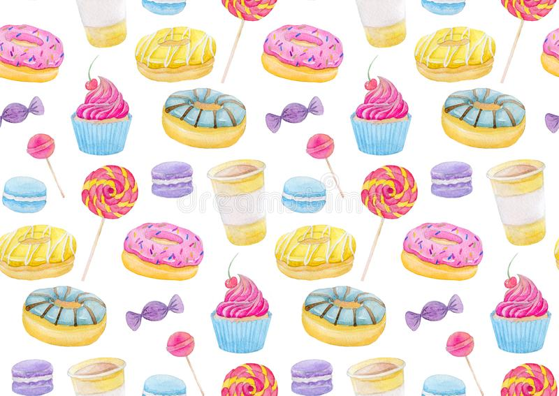 Set of sweets with donuts, candy, capcake, lollipop, chupa chups, macaroons and cup of coffee Colorful watercolor pattern. Set of sweets with donuts, candy vector illustration