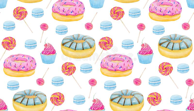 Set of sweets with donuts, candy, capcake, lollipop, macaroons and cup of coffee on white background. Colorful watercolor pattern. royalty free illustration