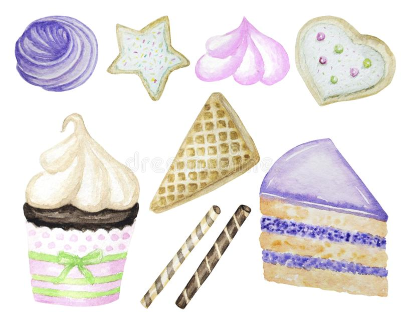 Set of Sweets hand drawn deserts with Cream and biscuit, waffle, piece of layered cake and cupcake. Watercolor delicious stock photos