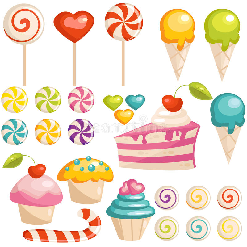 Set of sweets icons stock illustration