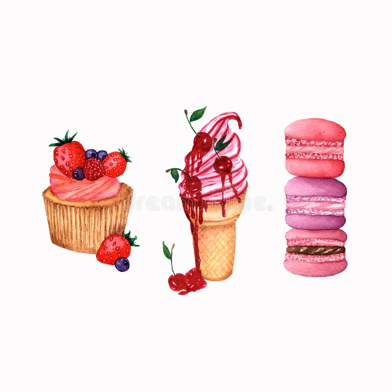 Set of sweets.macaroon,icecream and cupcake.You can use it as elements for your design of postcards,web pages,on fabric,etc stock illustration