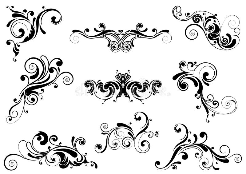 Set of swirl design. Set of floral swirl design element, black colored.Each of them group singly stock illustration