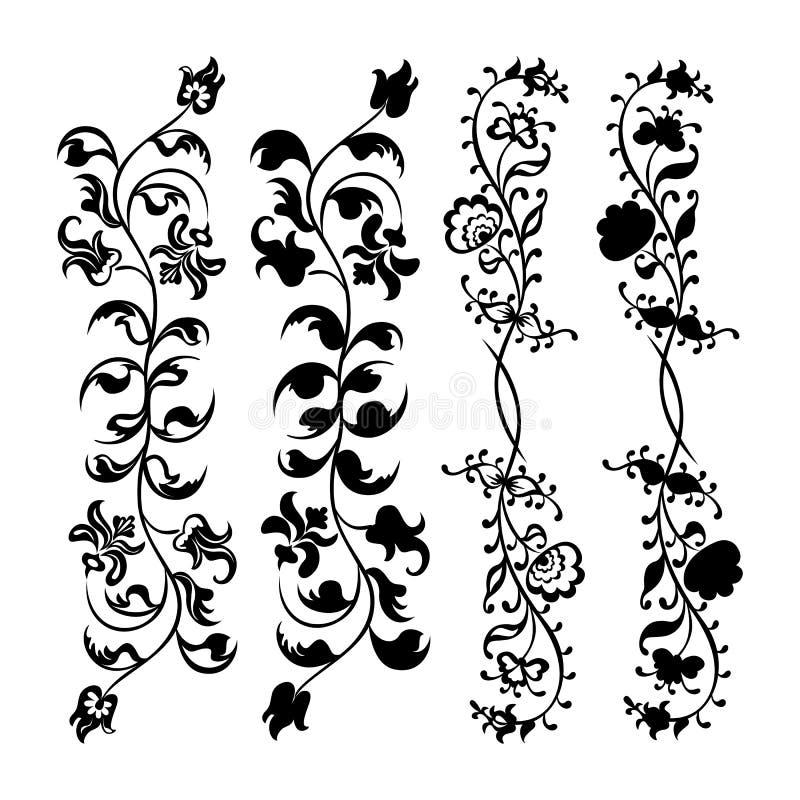 Set swirling decorative flower vector illustration