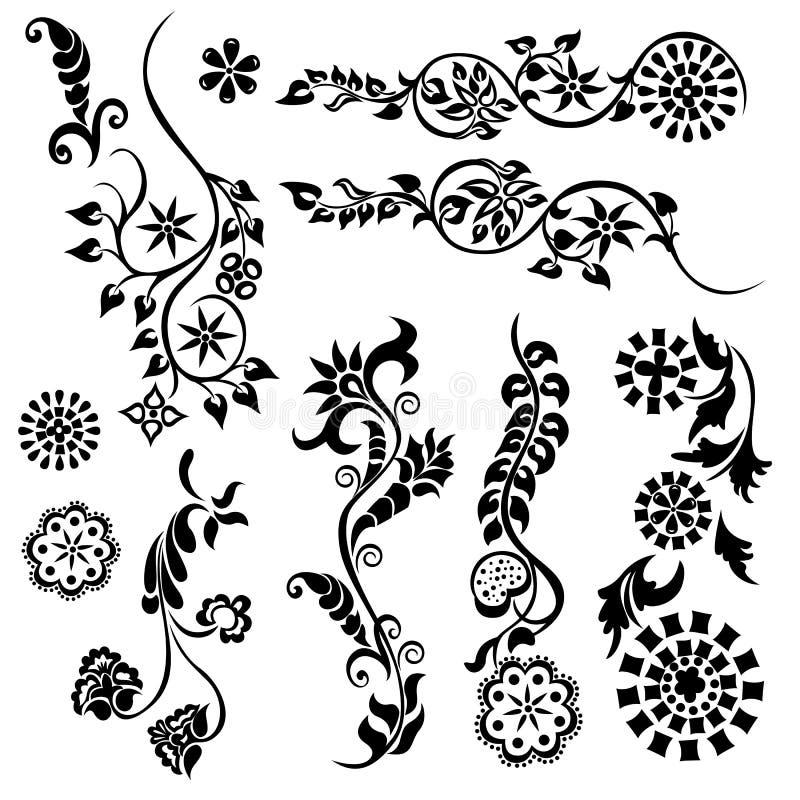 Set swirling decorative flower ornament stock illustration
