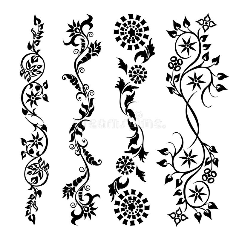 Set swirling decorative flower pattern royalty free illustration