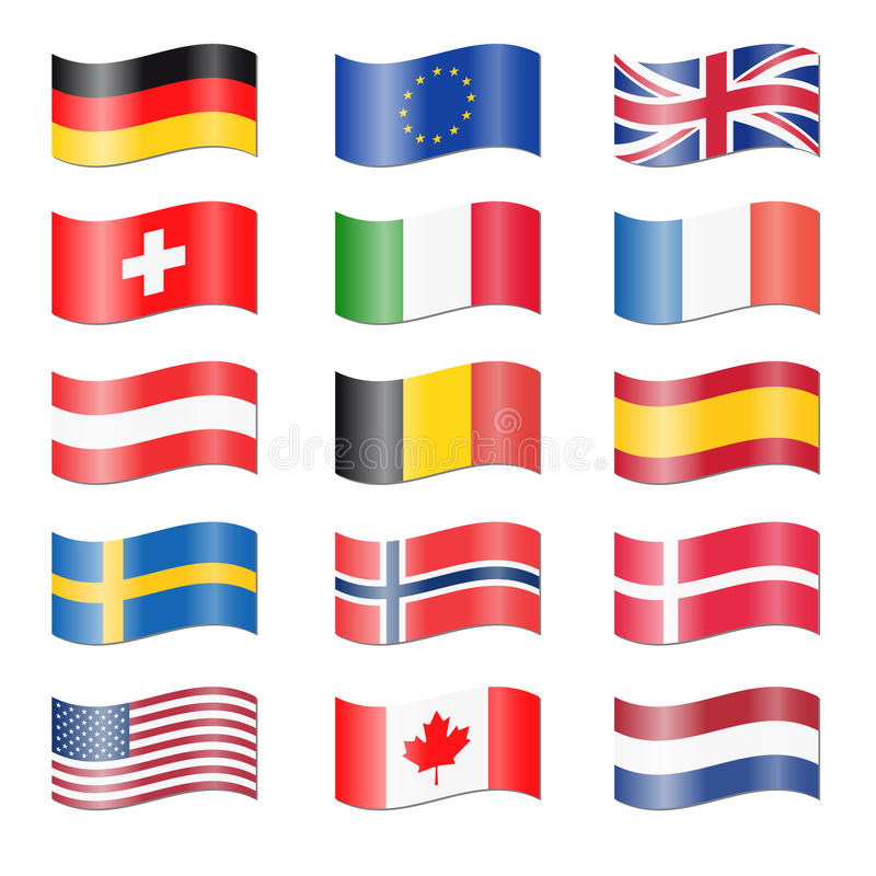 Set of swung country flags vector illustration