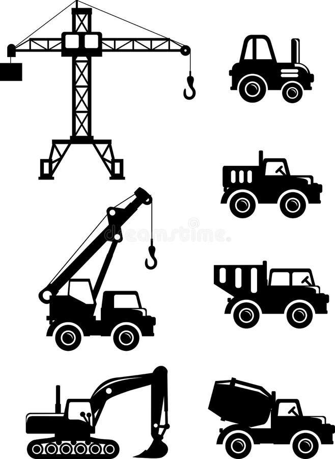 Set sylwetka bawi się ciężkiej budowy maszyny ilustracji